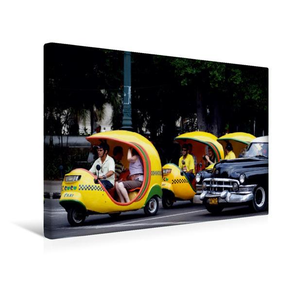 Premium Textil-Leinwand 45 cm x 30 cm quer, Coco-Taxis in Havanna | Wandbild, Bild auf Keilrahmen, Fertigbild auf echter Leinwand, Leinwanddruck - Coverbild