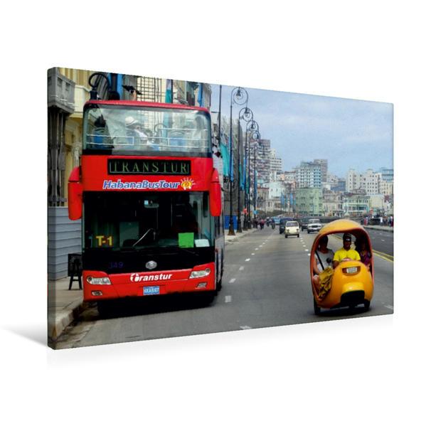 Premium Textil-Leinwand 75 cm x 50 cm quer, Ein Coco-Taxi auf dem Malecón in Havanna   Wandbild, Bild auf Keilrahmen, Fertigbild auf echter Leinwand, Leinwanddruck - Coverbild