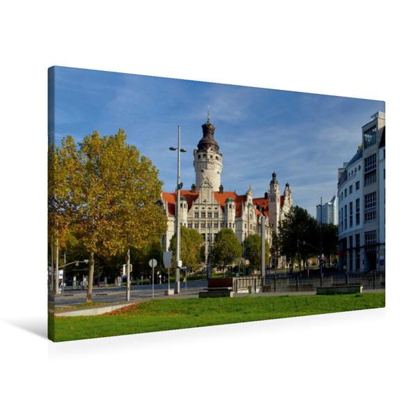 Premium Textil-Leinwand 90 cm x 60 cm quer, Neues Rathaus | Wandbild, Bild auf Keilrahmen, Fertigbild auf echter Leinwand, Leinwanddruck - Coverbild