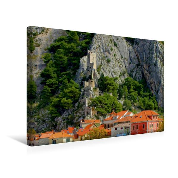 Premium Textil-Leinwand 45 cm x 30 cm quer, Mirabella Fortress, Omiš   Wandbild, Bild auf Keilrahmen, Fertigbild auf echter Leinwand, Leinwanddruck - Coverbild
