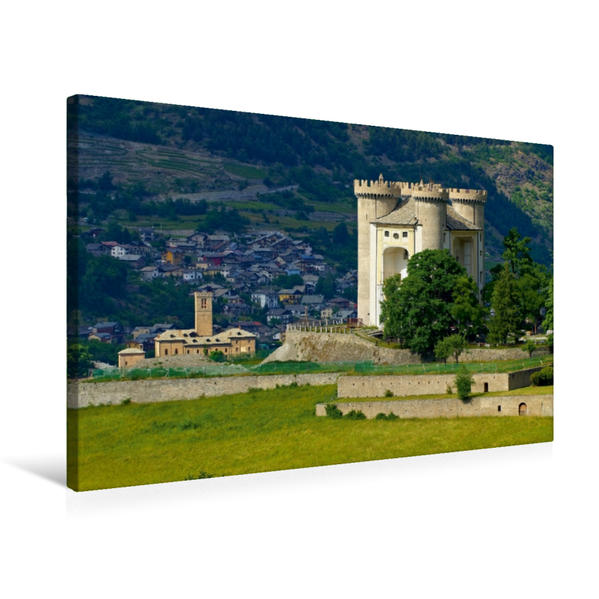 Premium Textil-Leinwand 75 cm x 50 cm quer, Castello di Aymavilles | Wandbild, Bild auf Keilrahmen, Fertigbild auf echter Leinwand, Leinwanddruck - Coverbild