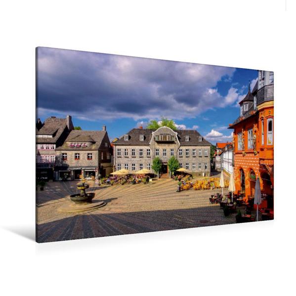 Premium Textil-Leinwand 120 cm x 80 cm quer, Marktplatz in Goslar   Wandbild, Bild auf Keilrahmen, Fertigbild auf echter Leinwand, Leinwanddruck - Coverbild