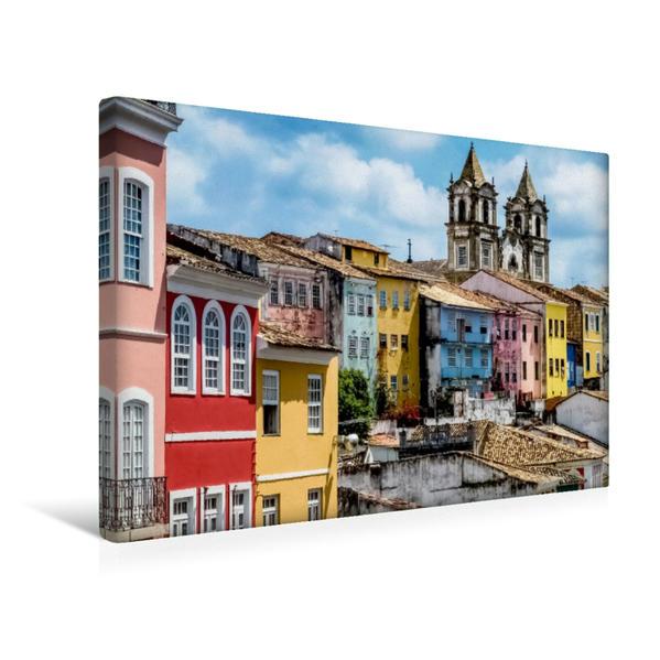 Premium Textil-Leinwand 45 cm x 30 cm quer, Pelourinho  Salvador da Bahia   Wandbild, Bild auf Keilrahmen, Fertigbild auf echter Leinwand, Leinwanddruck - Coverbild