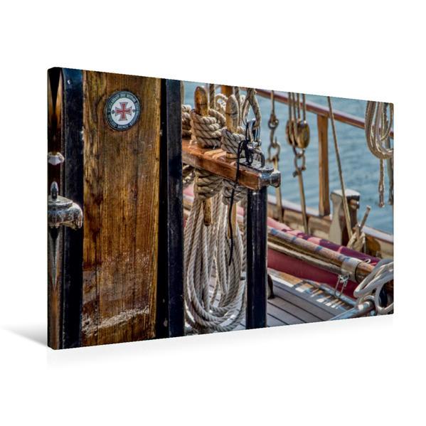 Premium Textil-Leinwand 75 cm x 50 cm quer, Segeldetail | Wandbild, Bild auf Keilrahmen, Fertigbild auf echter Leinwand, Leinwanddruck - Coverbild