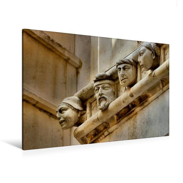Premium Textil-Leinwand 120 cm x 80 cm quer, Köpfe an der Kathedrale Šibenik | Wandbild, Bild auf Keilrahmen, Fertigbild auf echter Leinwand, Leinwanddruck - Coverbild