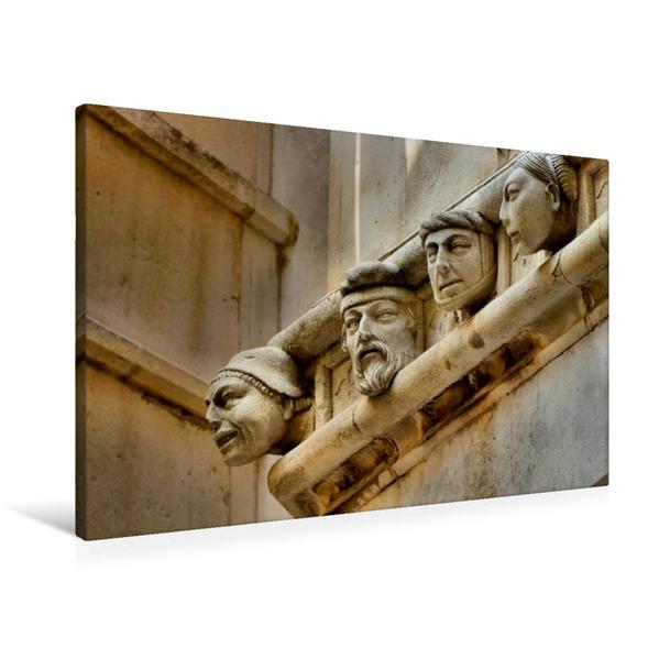 Premium Textil-Leinwand 90 cm x 60 cm quer, Köpfe an der Kathedrale Šibenik | Wandbild, Bild auf Keilrahmen, Fertigbild auf echter Leinwand, Leinwanddruck - Coverbild