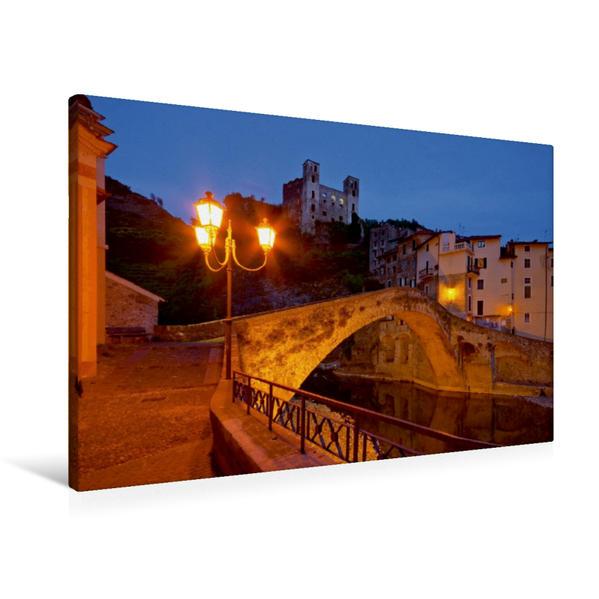 Premium Textil-Leinwand 90 cm x 60 cm quer, Dolceacqua | Wandbild, Bild auf Keilrahmen, Fertigbild auf echter Leinwand, Leinwanddruck - Coverbild