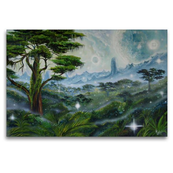 Premium Textil-Leinwand 120 cm x 80 cm quer, Im Land der Avatare | Wandbild, Bild auf Keilrahmen, Fertigbild auf echter Leinwand, Leinwanddruck - Coverbild