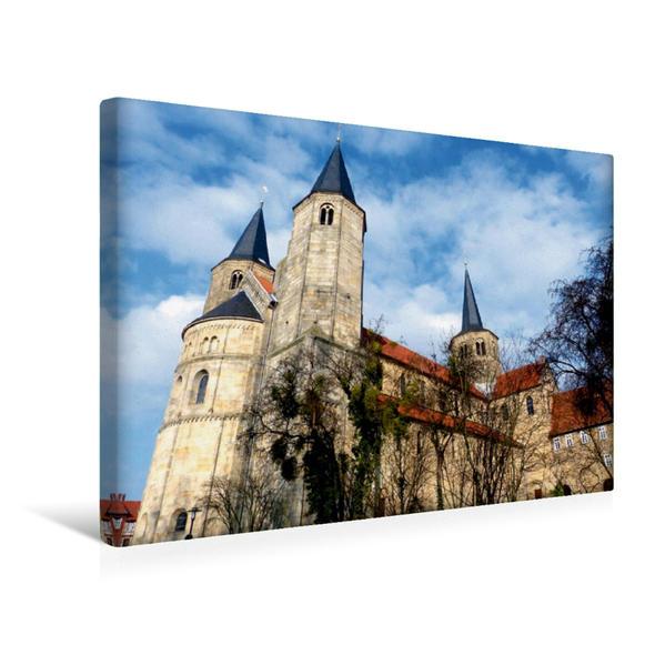 Premium Textil-Leinwand 45 cm x 30 cm quer, Basilika St. Godehard in Hildesheim. | Wandbild, Bild auf Keilrahmen, Fertigbild auf echter Leinwand, Leinwanddruck - Coverbild