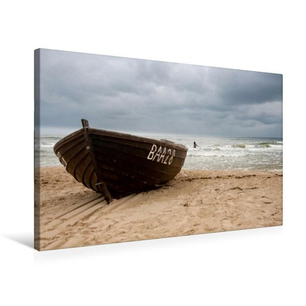 Premium Textil-Leinwand 75 cm x 50 cm quer, Fischerboot | Wandbild, Bild auf Keilrahmen, Fertigbild auf echter Leinwand, Leinwanddruck - Coverbild