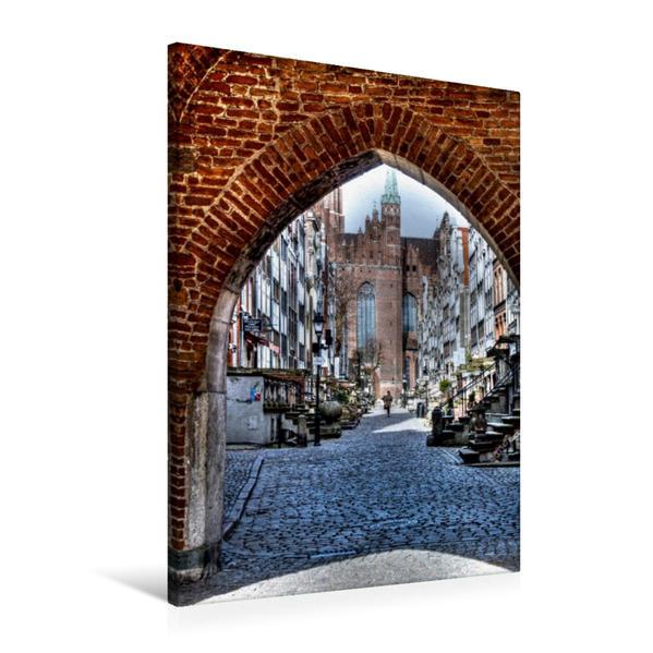 Premium Textil-Leinwand 60 cm x 90 cm hoch, Danzig - die Frauengasse zur Marienkirche | Wandbild, Bild auf Keilrahmen, Fertigbild auf echter Leinwand, Leinwanddruck - Coverbild