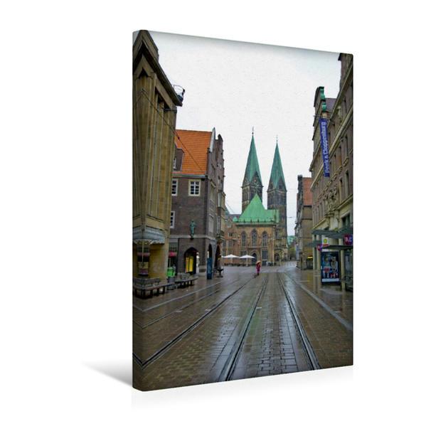 Premium Textil-Leinwand 30 cm x 45 cm hoch, Bremen - Im Hintergrund der St.Petri Dom, 13.Jahrhundert, davor das Rathaus | Wandbild, Bild auf Keilrahmen, Fertigbild auf echter Leinwand, Leinwanddruck - Coverbild
