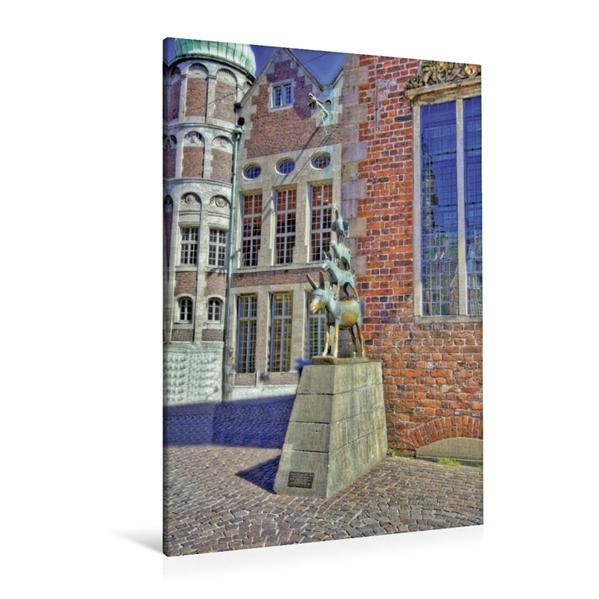 Premium Textil-Leinwand 80 cm x 120 cm  hoch, Bremen - Das bekannteste Wahrzeichen der Stadt, die Stadtmusikanten von 1953 | Wandbild, Bild auf Keilrahmen, Fertigbild auf echter Leinwand, Leinwanddruck - Coverbild