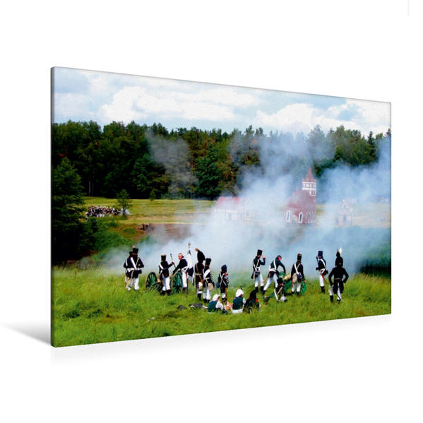 Premium Textil-Leinwand 120 cm x 80 cm quer, Pulverdampf am Originalschauplatz der Schlacht von 1807 - Ein Motiv aus dem Kalender