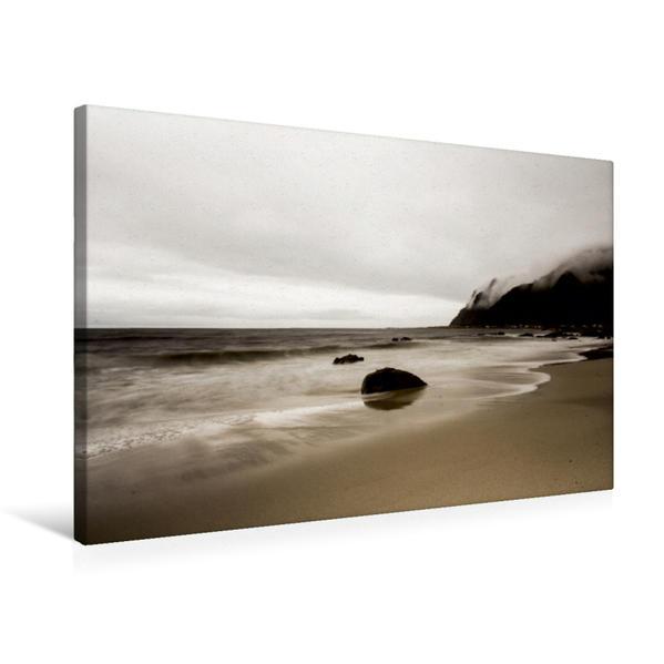 Premium Textil-Leinwand 75 cm x 50 cm quer, Nordischer Strand | Wandbild, Bild auf Keilrahmen, Fertigbild auf echter Leinwand, Leinwanddruck - Coverbild