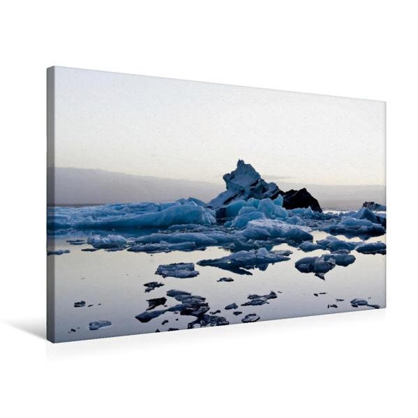 Premium Textil-Leinwand 75 cm x 50 cm quer, Reflektionen der Eisberge   Wandbild, Bild auf Keilrahmen, Fertigbild auf echter Leinwand, Leinwanddruck - Coverbild