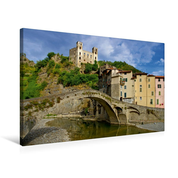 Premium Textil-Leinwand 75 cm x 50 cm quer, Dolceacqua | Wandbild, Bild auf Keilrahmen, Fertigbild auf echter Leinwand, Leinwanddruck - Coverbild