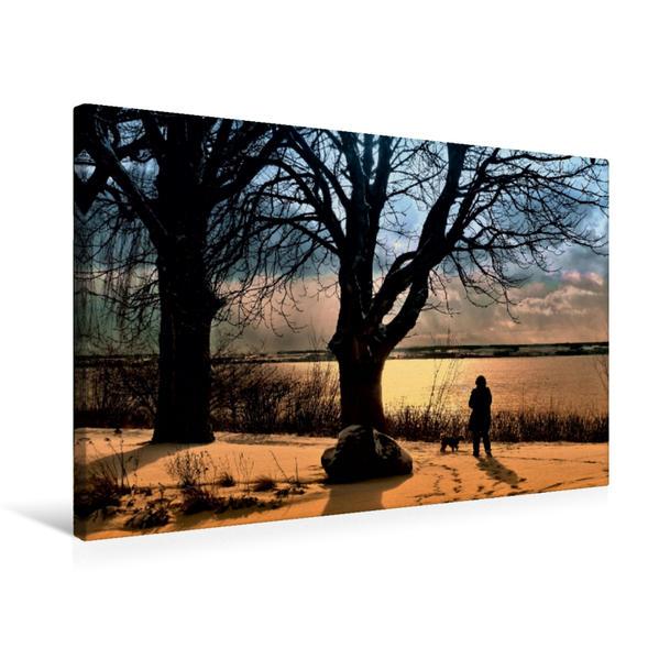 Premium Textil-Leinwand 75 cm x 50 cm quer, Immenstaad im Winter | Wandbild, Bild auf Keilrahmen, Fertigbild auf echter Leinwand, Leinwanddruck - Coverbild