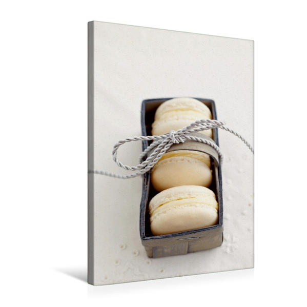 Premium Textil-Leinwand 50 cm x 75 cm hoch, Weiße Macarons | Wandbild, Bild auf Keilrahmen, Fertigbild auf echter Leinwand, Leinwanddruck - Coverbild