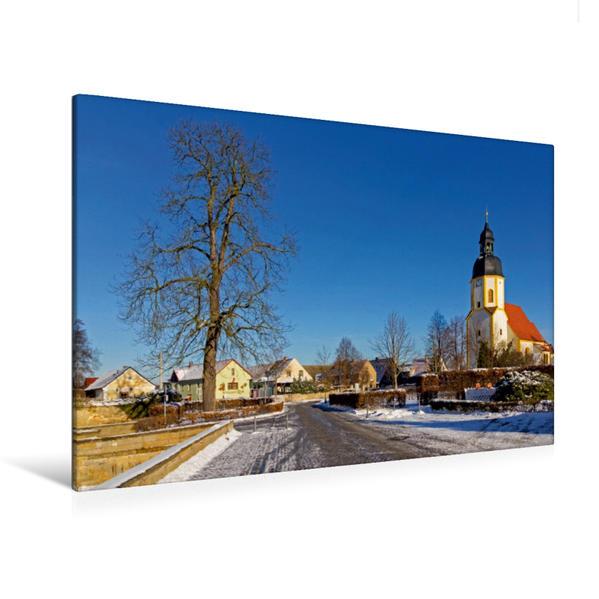 Premium Textil-Leinwand 120 cm x 80 cm quer, Die St.-Georgen-Kirche in Zabeltitz | Wandbild, Bild auf Keilrahmen, Fertigbild auf echter Leinwand, Leinwanddruck - Coverbild