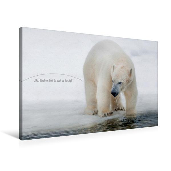 Premium Textil-Leinwand 75 cm x 50 cm quer, Ein Motiv aus dem Kalender Emotionale Momente: Eisbären - ganz menschlich gesehen. | Wandbild, Bild auf Keilrahmen, Fertigbild auf echter Leinwand, Leinwanddruck - Coverbild