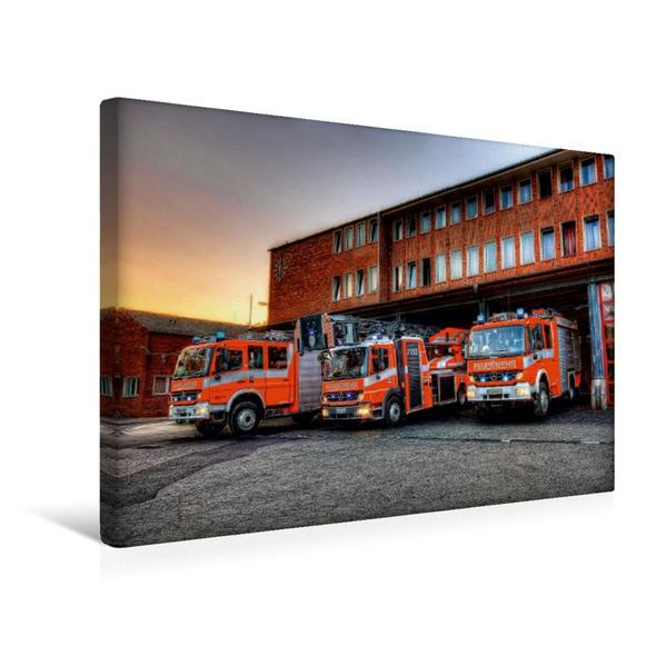 Premium Textil-Leinwand 45 cm x 30 cm quer, Löschzug BF Braunschweig | Wandbild, Bild auf Keilrahmen, Fertigbild auf echter Leinwand, Leinwanddruck - Coverbild