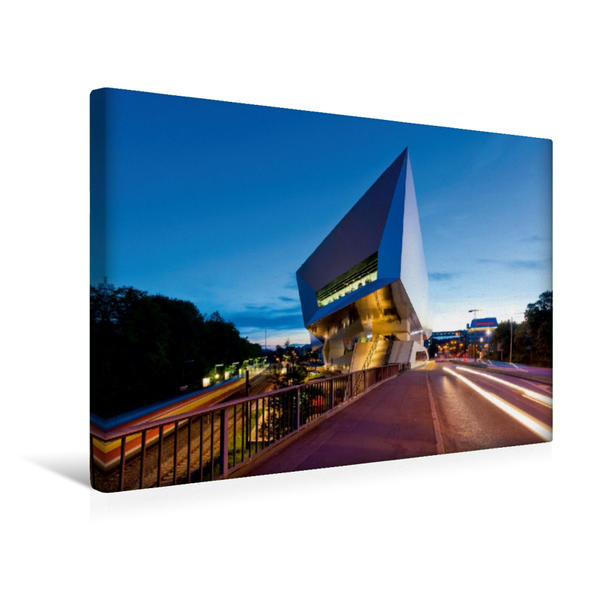 Premium Textil-Leinwand 45 cm x 30 cm quer, Porsche Museum in Zuffenhausen | Wandbild, Bild auf Keilrahmen, Fertigbild auf echter Leinwand, Leinwanddruck - Coverbild