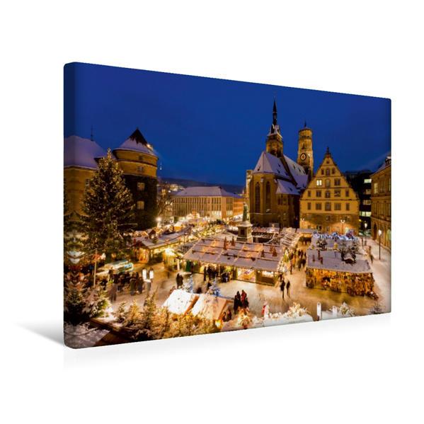 Premium Textil-Leinwand 45 cm x 30 cm quer, Weihnachtsmarkt auf dem Schillerplatz in Stuttgart | Wandbild, Bild auf Keilrahmen, Fertigbild auf echter Leinwand, Leinwanddruck - Coverbild