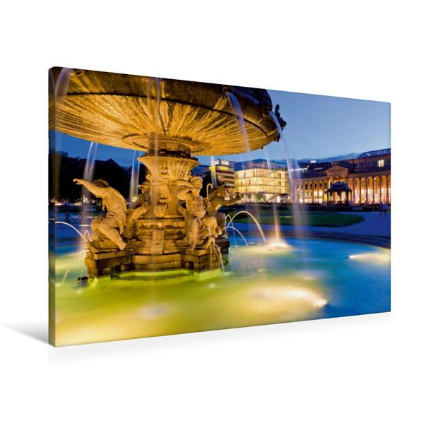 Premium Textil-Leinwand 90 cm x 60 cm quer, Schlossplatz in Stuttgart | Wandbild, Bild auf Keilrahmen, Fertigbild auf echter Leinwand, Leinwanddruck - Coverbild