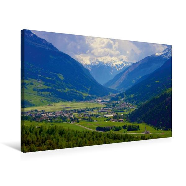 Premium Textil-Leinwand 75 cm x 50 cm quer, Bormio | Wandbild, Bild auf Keilrahmen, Fertigbild auf echter Leinwand, Leinwanddruck - Coverbild