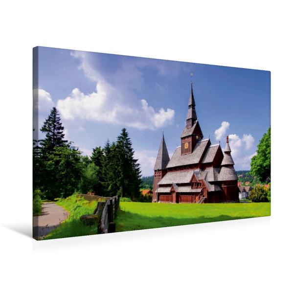 Premium Textil-Leinwand 75 cm x 50 cm quer, Gustav-Adolf-Stabkirche | Wandbild, Bild auf Keilrahmen, Fertigbild auf echter Leinwand, Leinwanddruck - Coverbild