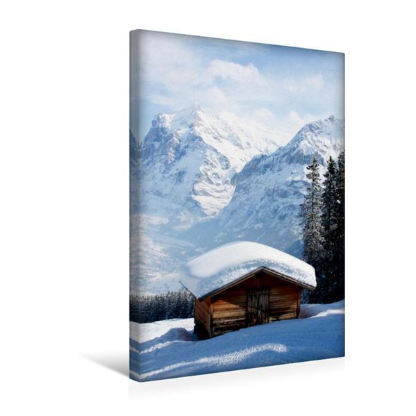 Premium Textil-Leinwand 30 cm x 45 cm hoch, Blick auf Wetterhorn und Schreckhorn | Wandbild, Bild auf Keilrahmen, Fertigbild auf echter Leinwand, Leinwanddruck - Coverbild