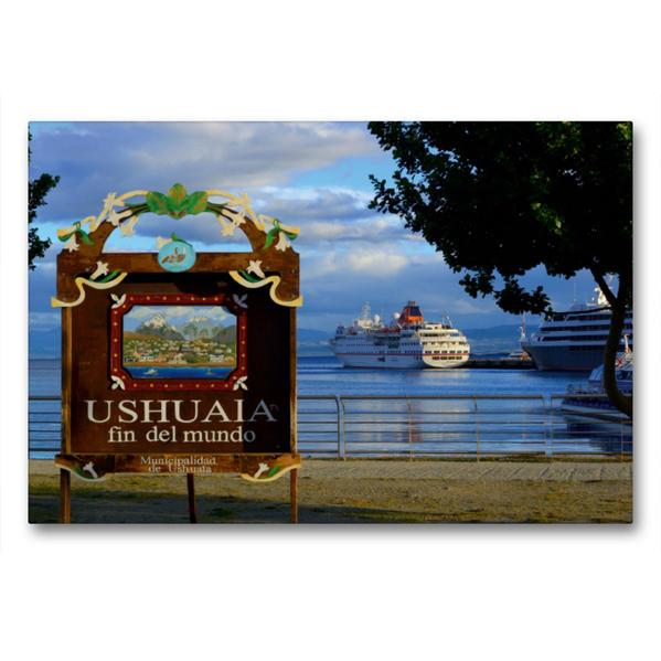 Premium Textil-Leinwand 90 cm x 60 cm quer, Ushuaia, Feuerland/ Argentinien | Wandbild, Bild auf Keilrahmen, Fertigbild auf echter Leinwand, Leinwanddruck - Coverbild