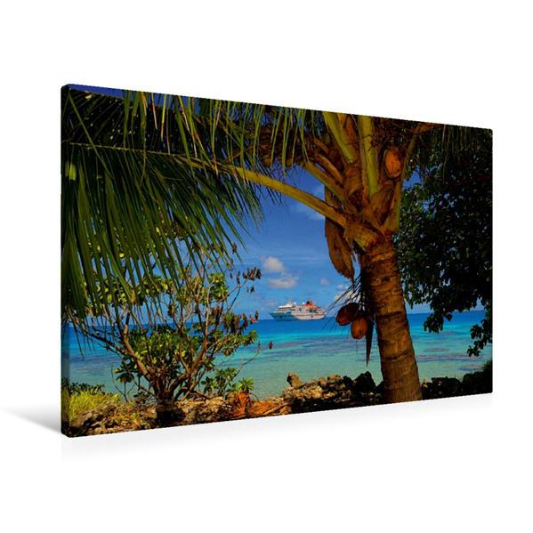 Premium Textil-Leinwand 90 cm x 60 cm quer, Fakarava, Franz.- Polynesien   Wandbild, Bild auf Keilrahmen, Fertigbild auf echter Leinwand, Leinwanddruck - Coverbild