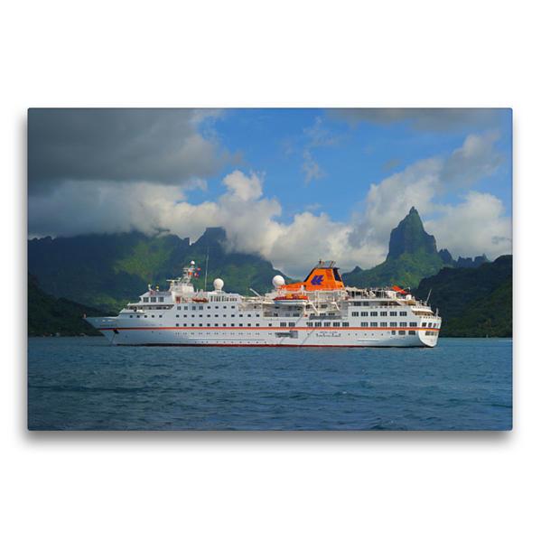 Premium Textil-Leinwand 75 cm x 50 cm quer, Moorea, Franz. - Polynesien | Wandbild, Bild auf Keilrahmen, Fertigbild auf echter Leinwand, Leinwanddruck - Coverbild