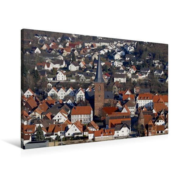 Premium Textil-Leinwand 90 cm x 60 cm quer, Osterräderstadt Lügde | Wandbild, Bild auf Keilrahmen, Fertigbild auf echter Leinwand, Leinwanddruck - Coverbild