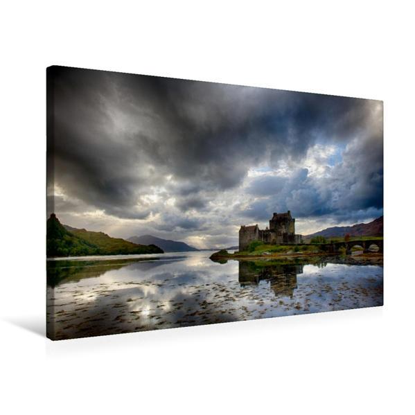Premium Textil-Leinwand 75 cm x 50 cm quer, Eilean Donan Castle | Wandbild, Bild auf Keilrahmen, Fertigbild auf echter Leinwand, Leinwanddruck - Coverbild