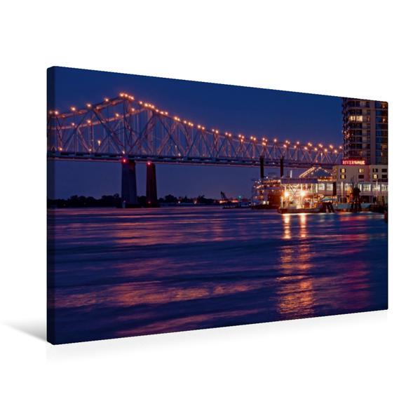 Premium Textil-Leinwand 75 cm x 50 cm quer, New Orleans River Walk | Wandbild, Bild auf Keilrahmen, Fertigbild auf echter Leinwand, Leinwanddruck - Coverbild