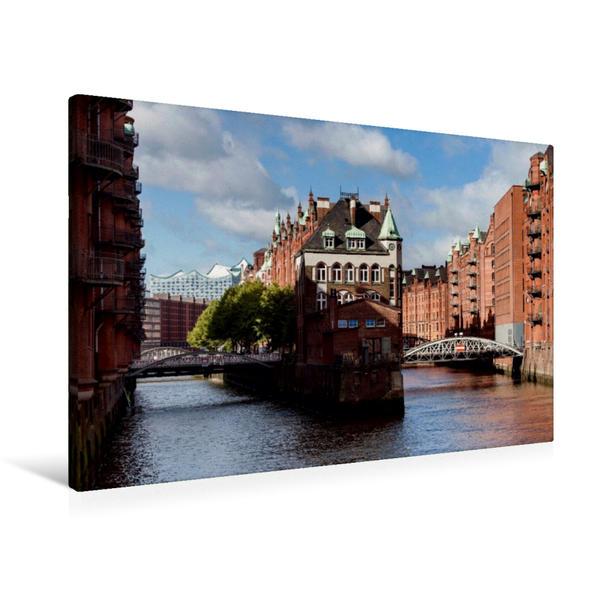 Premium Textil-Leinwand 90 cm x 60 cm quer, Speicherstadt von der Poggenmühlenbrücke | Wandbild, Bild auf Keilrahmen, Fertigbild auf echter Leinwand, Leinwanddruck - Coverbild