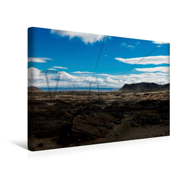 Premium Textil-Leinwand 45 cm x 30 cm quer, Hochlandpiste südlich des Langjökull | Wandbild, Bild auf Keilrahmen, Fertigbild auf echter Leinwand, Leinwanddruck - Coverbild