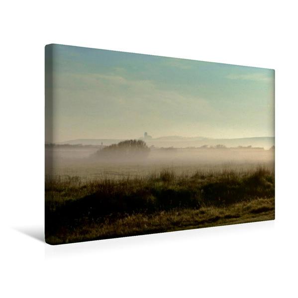 Premium Textil-Leinwand 45 cm x 30 cm quer, Engbjergkirche im Nebel | Wandbild, Bild auf Keilrahmen, Fertigbild auf echter Leinwand, Leinwanddruck - Coverbild