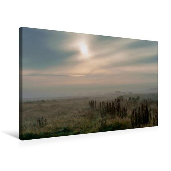 Premium Textil-Leinwand 75 cm x 50 cm quer, Morgennebel bei Vejlby | Wandbild, Bild auf Keilrahmen, Fertigbild auf echter Leinwand, Leinwanddruck - Coverbild