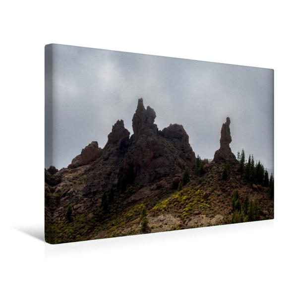 Premium Textil-Leinwand 45 cm x 30 cm quer, Nebelaufzug am Mönchsfelsen | Wandbild, Bild auf Keilrahmen, Fertigbild auf echter Leinwand, Leinwanddruck - Coverbild