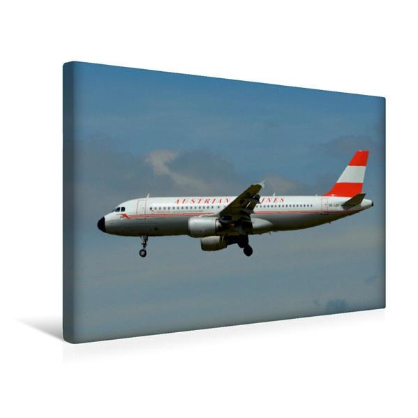 Premium Textil-Leinwand 45 cm x 30 cm quer, Austrian Airlines - Airbus A320 | Wandbild, Bild auf Keilrahmen, Fertigbild auf echter Leinwand, Leinwanddruck - Coverbild
