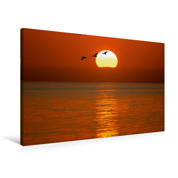 Premium Textil-Leinwand 90 cm x 60 cm quer, Sonnenuntergang am Atlantik | Wandbild, Bild auf Keilrahmen, Fertigbild auf echter Leinwand, Leinwanddruck - Coverbild