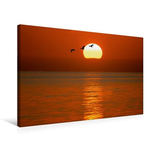 Premium Textil-Leinwand 75 cm x 50 cm quer, Sonnenuntergang am Atlantik   Wandbild, Bild auf Keilrahmen, Fertigbild auf echter Leinwand, Leinwanddruck - Coverbild