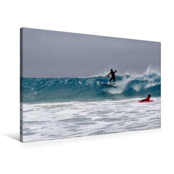 Premium Textil-Leinwand 90 cm x 60 cm quer, Surfing La Pared | Wandbild, Bild auf Keilrahmen, Fertigbild auf echter Leinwand, Leinwanddruck - Coverbild