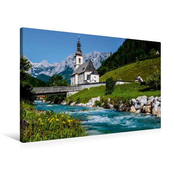 Premium Textil-Leinwand 90 cm x 60 cm quer, Ramsau - Alpen | Wandbild, Bild auf Keilrahmen, Fertigbild auf echter Leinwand, Leinwanddruck - Coverbild