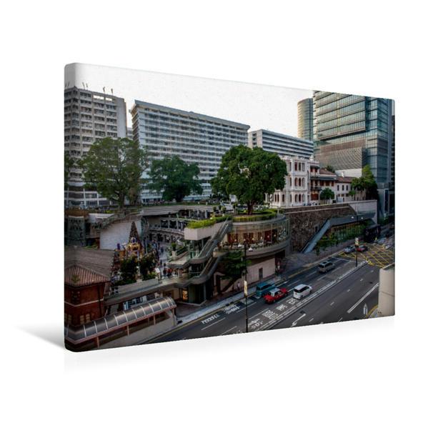 Premium Textil-Leinwand 45 cm x 30 cm quer, Stadtteil Kowloon | Wandbild, Bild auf Keilrahmen, Fertigbild auf echter Leinwand, Leinwanddruck - Coverbild