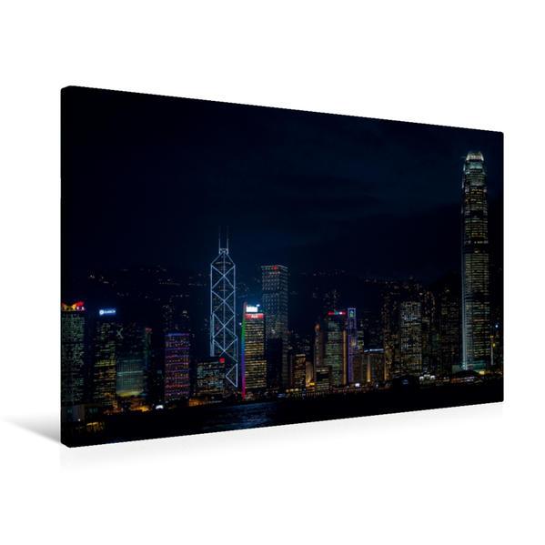 Premium Textil-Leinwand 75 cm x 50 cm quer, Skyline Hongkong Island | Wandbild, Bild auf Keilrahmen, Fertigbild auf echter Leinwand, Leinwanddruck - Coverbild